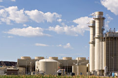 Electrical power plant. Industrial electrical power plant at the edge of a marsh stock photos