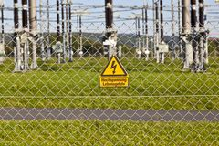 Electrical power plant in farmland area Stock Images