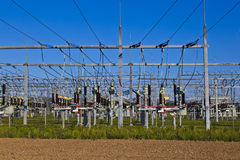 Electrical Power Plant In Farmland Area Stock Photo