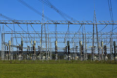 Electrical Power Plant In Farmland Area Royalty Free Stock Photos