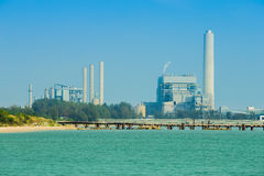 Electrical power plant near the sea, Rayong, Thailand Royalty Free Stock Photography