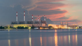 Electrical power plant in night Royalty Free Stock Photo