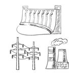 Electrical power plants and towers sketch icons Stock Images