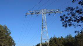 Electrical power pylon in the forest with blue sky, slow zoom out from closeup of cables to pole and wires
