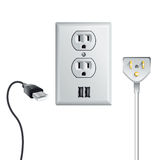 Electrical power socket with USB stock photography