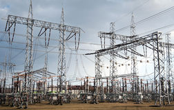 Electrical power station. With dramatic sky in background Royalty Free Stock Photo