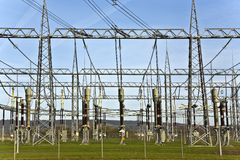 Electrical power station with sky Royalty Free Stock Photos