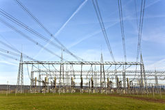Electrical power station with sky Stock Photo