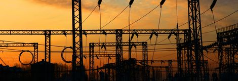 Electrical power station. Sunrise. Stock Photography