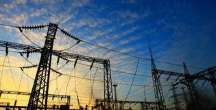 Electrical power station. Sunrise. Stock Photos