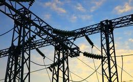 Electrical power station. Sunrise. Royalty Free Stock Image