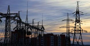Electrical power station. Sunset. Stock Photos