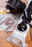 Electrical power strip with connected plugs and polish currency money, energy costs Stock Photo