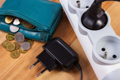 Electrical power strip with plug and polish currency money, energy costs Royalty Free Stock Image