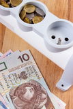 Electrical power strip and polish currency, energy costs Royalty Free Stock Image