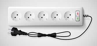 Electrical power strip with a switch Stock Images