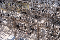 Electrical power substation, transformers, insulators Royalty Free Stock Image