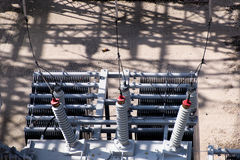 Electrical power substation, transformers, insulators Royalty Free Stock Photos