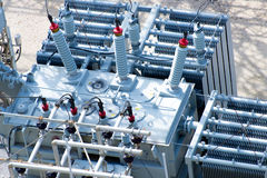 Electrical power substation, transformers, insulators royalty free stock photo