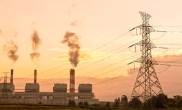 Electrical power tower and plant Stock Images