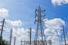Electrical power tower and plant Royalty Free Stock Photo