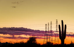 Electrical power towers in Phoenix,Arizona,USA Royalty Free Stock Images