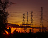 Electrical power towers in Phoenix,Arizona,USA Stock Photos
