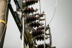 Electrical power transformer in high voltage substation.  royalty free stock photos