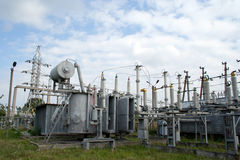 Electrical power transformer in high voltage substation Royalty Free Stock Photo