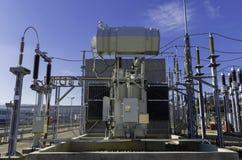 Electrical power transformer. Medium to low voltage power transformer in modern electrical energy distribution station near Brasov county, Transylvanya, Romania stock photos