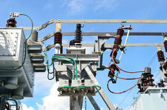 Electrical power transformer in substation. Electrical power transformer in high voltage substation Royalty Free Stock Photography