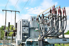 Electrical power transformer in substation. Electrical power transformer in high voltage substation Royalty Free Stock Photos