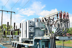 Electrical power transformer in substation Royalty Free Stock Photography