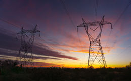 Electrical power transmission towers Stock Photo