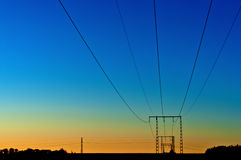 Electrical powerlines. In the morning Royalty Free Stock Photography