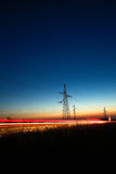 Electrical powerlines at dusk Royalty Free Stock Images