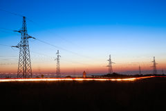 Electrical powerlines at dusk Royalty Free Stock Photos