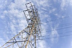 Electrical pylon against blue sky Royalty Free Stock Photos