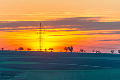 Electrical pylon at sunset Royalty Free Stock Image