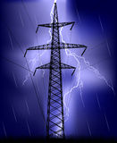 Electrical pylon under lightning Royalty Free Stock Photos