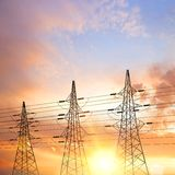 Electrical pylons. Electrical pylons over sunset background. Vector illustration vector illustration