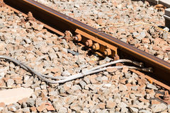 Electrical rail connections Stock Images