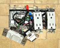 Electrical renovation. House wiring being repaired Stock Image