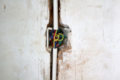 Electrical renovation work, Bury a pvc pipe in the wall. Electrical renovation work Cable Electric.Electrical Box with wiring during residential renovation.Bury royalty free stock image