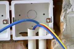 Electrical renovation work Royalty Free Stock Photography
