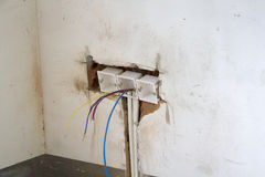 Electrical renovation work. Cable Electric.Electrical Box with wiring during residential renovation Royalty Free Stock Photography