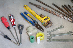 Electrical renovation work, many Hand tools Royalty Free Stock Image