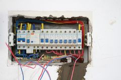 Electrical renovation work, Industrial electrical equipment Royalty Free Stock Images