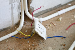 Electrical renovation work, Light plug Stock Images
