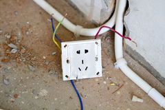 Electrical renovation work, Light plug Stock Image